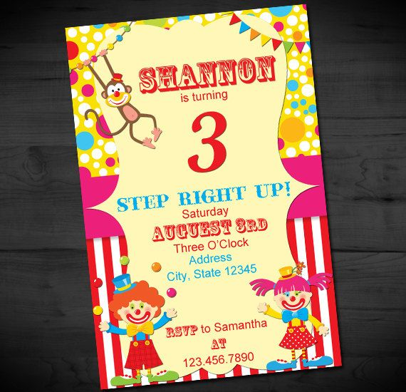 Birthday Carnival Party Invitation - Circus Birthday Invites - Big Top Invitation - Vintage - Printable or Printed - SHIPPING INCLUDED - 4x6