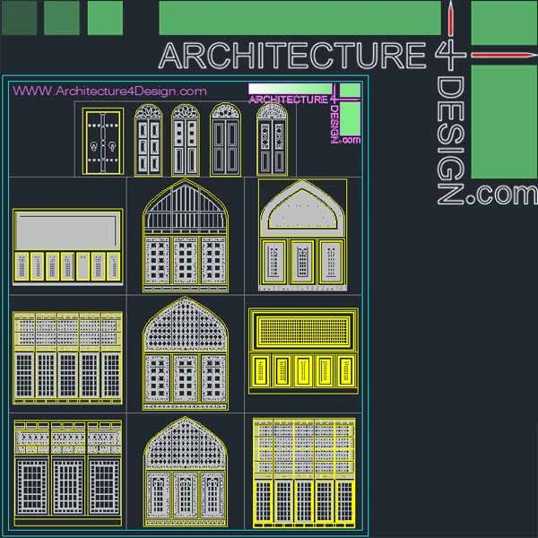 340 Islamic architecture ornament motifs and arches for AutoCad (DWG file)  | Architecture for