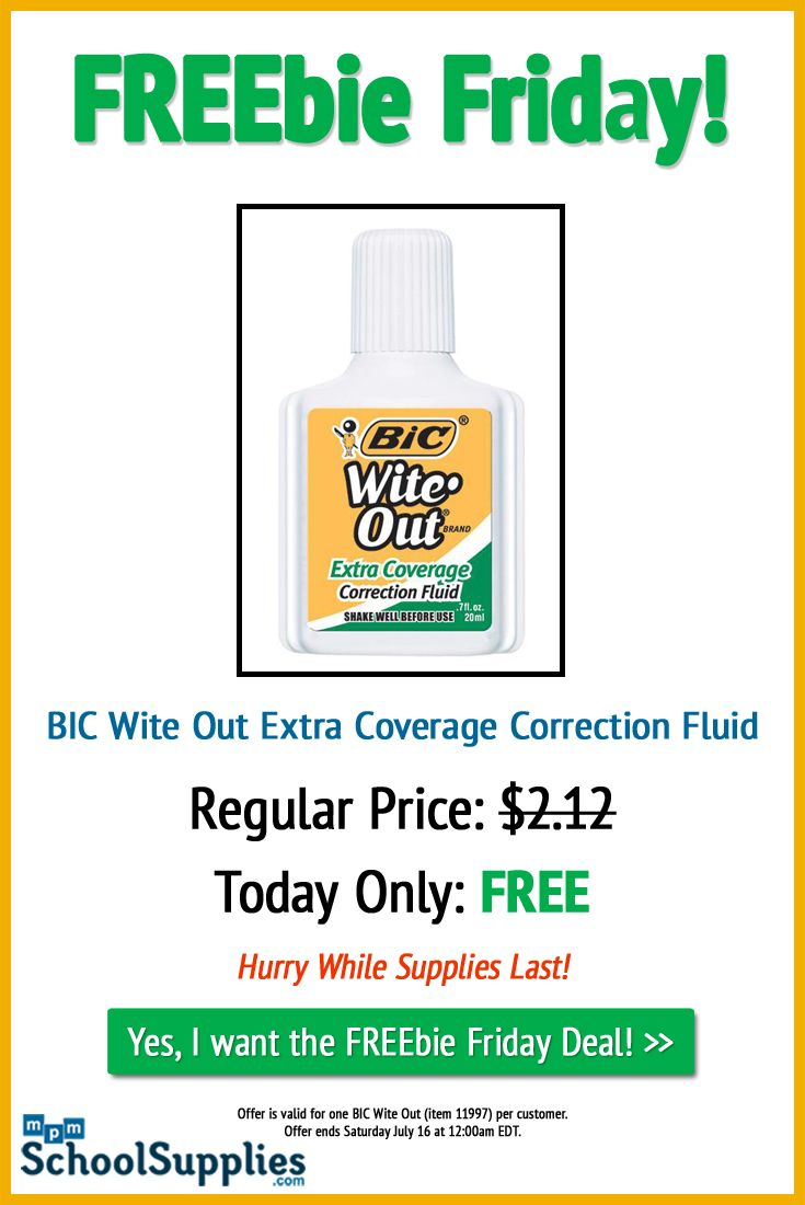 Check out our FREEbie Friday deal. Get the BIC Wite Out Extra Coverage Correction Fluid FREE today ONLY! http://www.mpmschoolsupplies.com/p-11997-bicreg-witereg-outreg-correction-fluid-extra-coverage.aspx/redeem/FF11997/?utm_source=pinterest&utm_medium=social%20media&utm_campaign=freebie%20friday