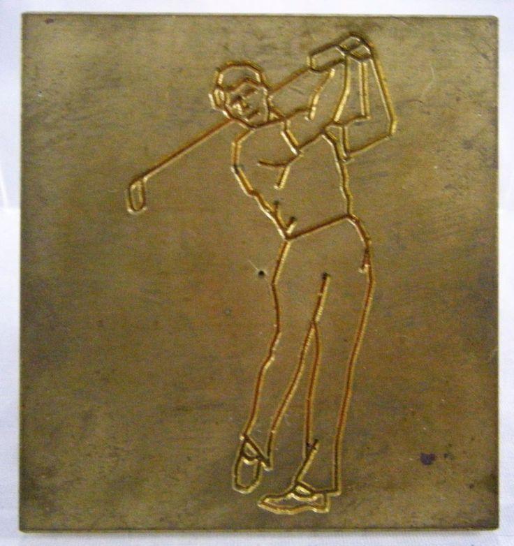 New Hermes Engrving Vintage Male Golfer Brass Master Engraving Plate  #NewHermes