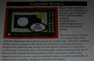"""Moon Calendar Review """"This fascinating Moon Calendar takes a novel and participatory approach to astrological education"""" – Peter Burns, The Federation of Australian Astrologers FAA Journal, December 2015  Stellium Light - Zodiac Inspirations Australia"""