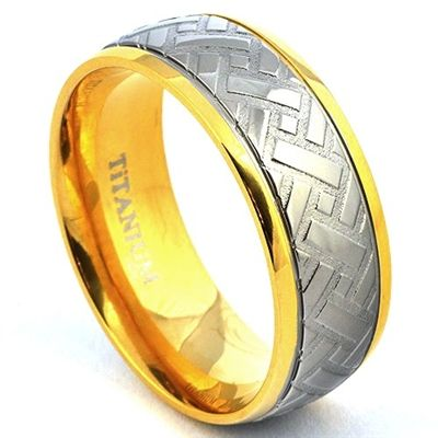14K Yellow Gold Plated Titanium Car Tire Ring