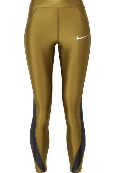 0bc66964e387 Nike - Speed cropped paneled metallic Dri-FIT stretch leggings ...