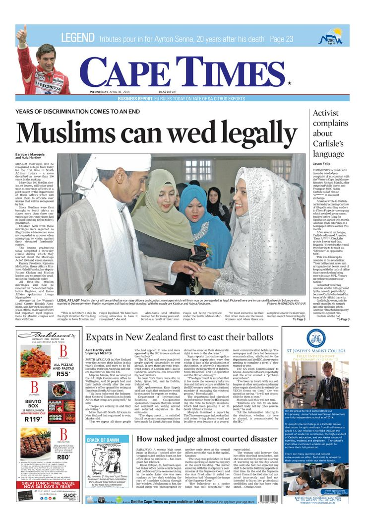 News making headlines: Muslims can legally wed