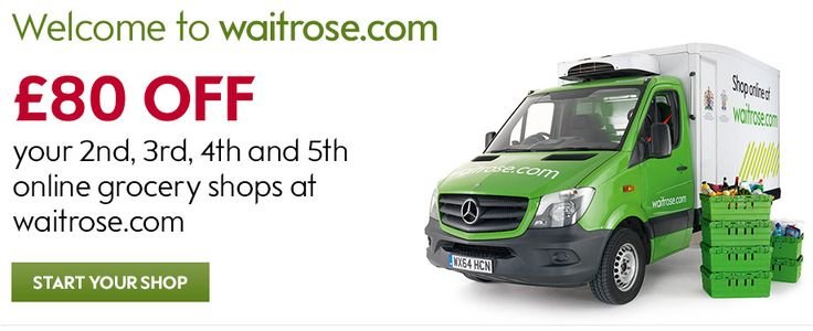£80 OFF your 2nd, 3rd, 4th, 5th online grocery shops at Waitrose.com