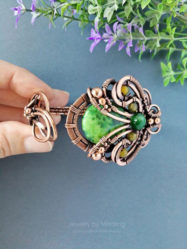 Wire Wrapped Bracelet, Floral Cuff Bracelet, Green Jasper, Wide Band ...