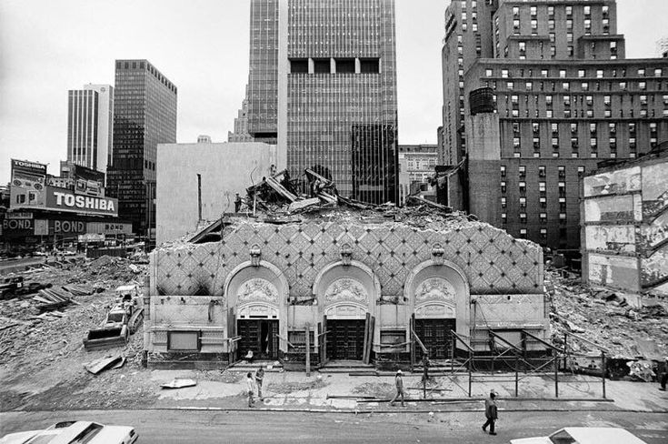1982, 5 Broadway theatres — the Morosco, Helen Hayes, Bijou, Victoria, and Astor — demolished to make way for the Marriott Marquis Hotel. The Helen Hayes, last to fall.