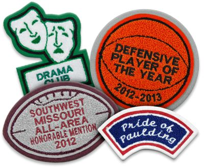 We can manufacture nearly any letterman jacket patch style you want, from sports patches to academic patches, with or without embroidery.  Image © Mount Olympus Awards, LLC. All Rights Reserved.