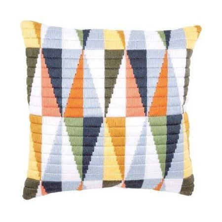 The perfect summer time addition for the home, this Triangles Long Stitch Cushion Panel kit from Vervaco features a delicate mix of pastel and bold colours for a contrasting design that really works.