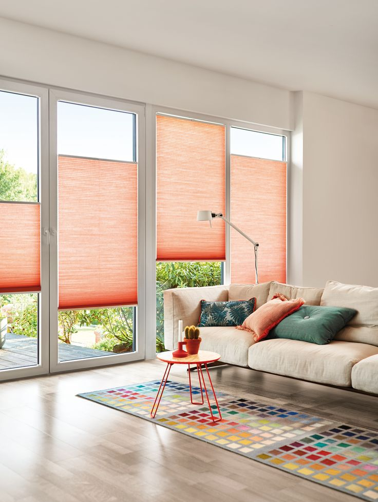 Duette blinds in coral from Apollo Blinds