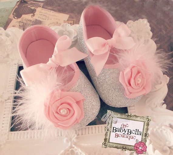 Glitter silver and pink   Baby Girl Crib Shoes  ,Baby Shoes,Christening, Baptism, Wedding, Ready to ship