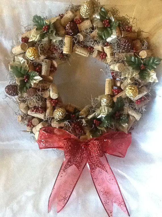 Hand Made Holiday Wine Cork Wreath