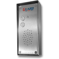 Guard doorstation 2 button and intercom make from strong high grade stainless, comes with vandal resistant enclosure for wall mounting.