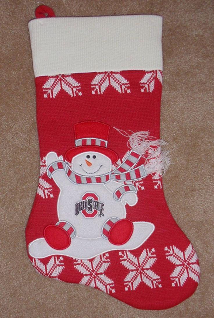 Ohio state university brutus buckeye statue - Ohio State University Buckeyes Large Christmas Stocking Snowman Knitted Felt New