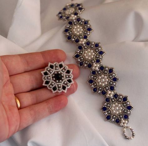 Picture tute for component medalian. This works from the outside in. (translate, if you want) #Seed #Bead #Tutorials