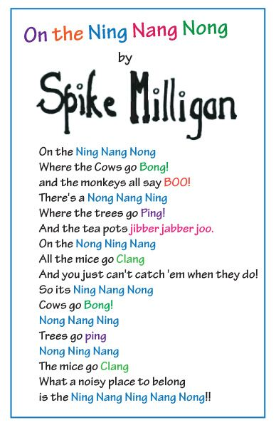 poem by spike milligan- ning nang nong--featuring ing
