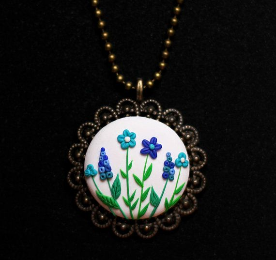 Boho necklace White and blue flowers necklace Granny gift for