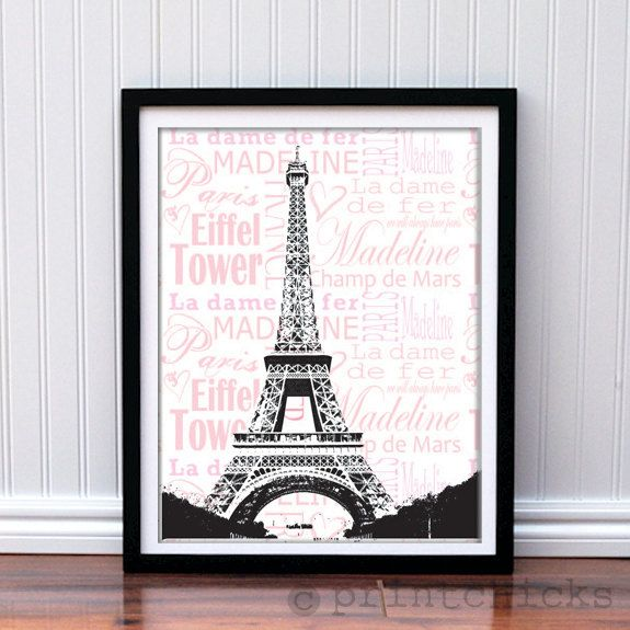 Eiffel tower poster custom paris print paris france for 6 x 8 bedroom ideas