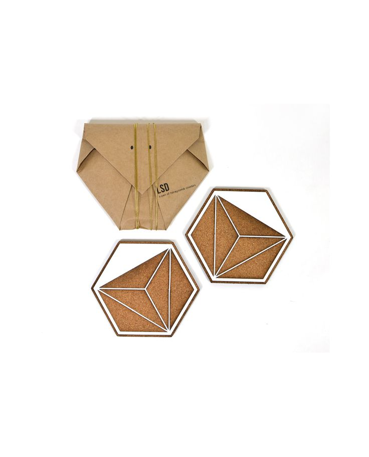 Leg Studios Honeycomb Coasters.  These honeycomb inspired coasters add a little glamour to an often overlooked table accessory. Sold as packaged pair.  Materials: natural cork, 1.6mm electroplated steel.  Care: wipe with damp cloth. Do not use abrasives or solvents.  #legstudios #milesforstyle