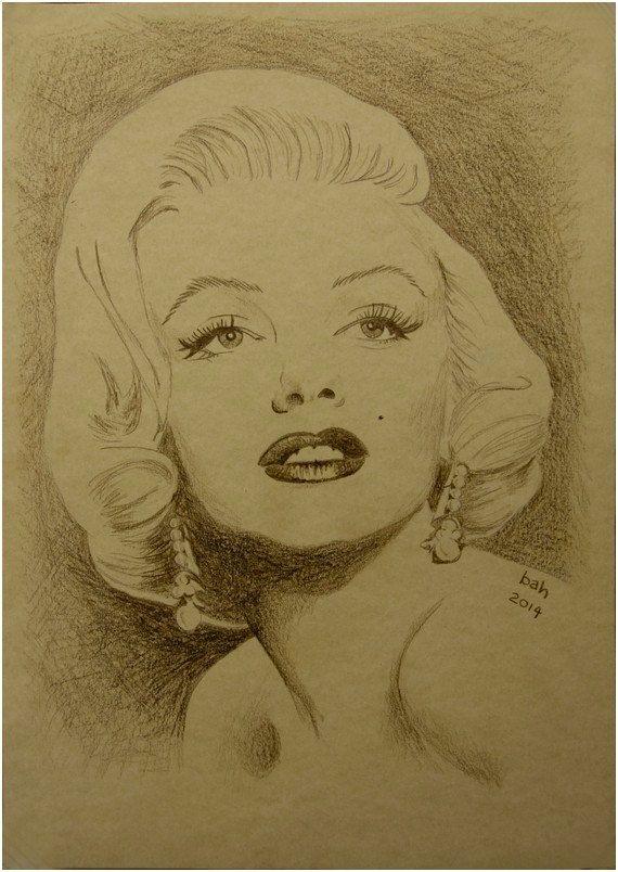 Marilyn Monroe, Original hand drawing, brown pencil on paper