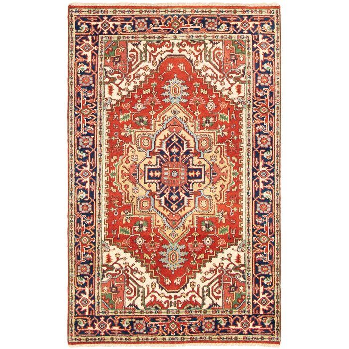 290 5x8 Bloomsbury Market One Of A Kind Mcloud Serapi Heritage Hand Knotted 5 X 8 Wool Red Blue Beige Area Rug Wayfai Red Wool Rug Wool Rug Navy Wool Rugs