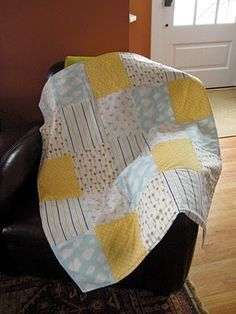 """""""2 hour quilt."""" probably should have tried this before jumping into harder ones. no binding! Perfect beginner quilting project."""