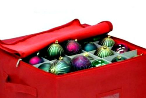 Christmas Ornament Storage Box Red 75 Pieces Holiday Decoration Organization Bag #InnovativeHomeCreations