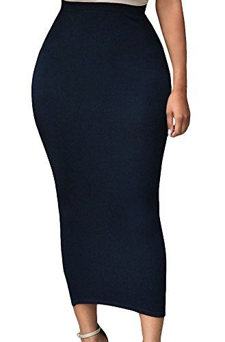 Sexy Womens Solid High-waisted Bodycon Cotton Maxi Skirt Black