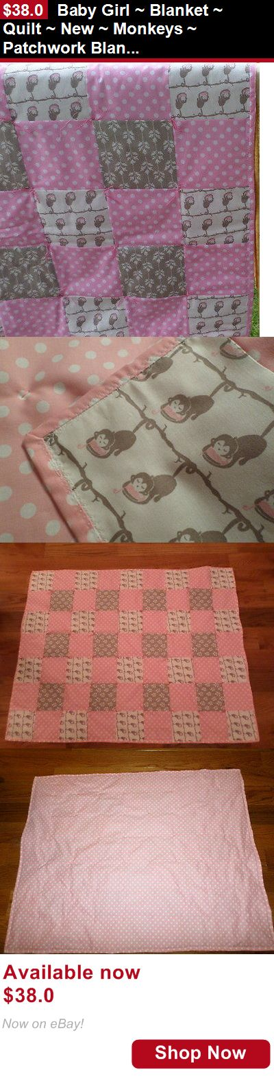Quilts And Coverlets: Baby Girl ~ Blanket ~ Quilt ~ New ~ Monkeys ~ Patchwork Blanket BUY IT NOW ONLY: $38.0