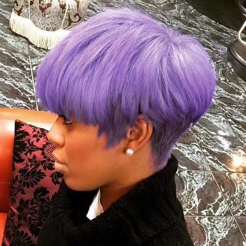 Short Pastel Purple Hairstyle For Black Women