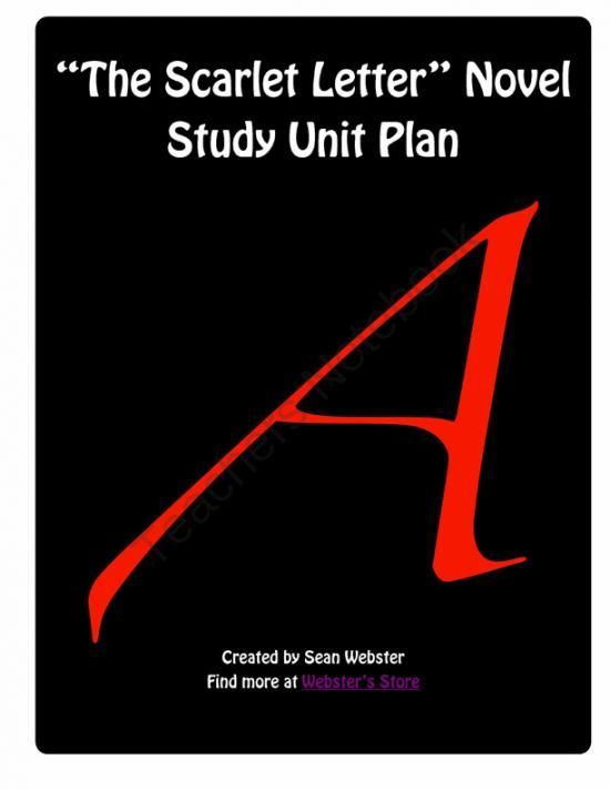 best scarlet letter images the scarlet letter   the scarlet letter by nathaniel hawthorne novel study unit plan