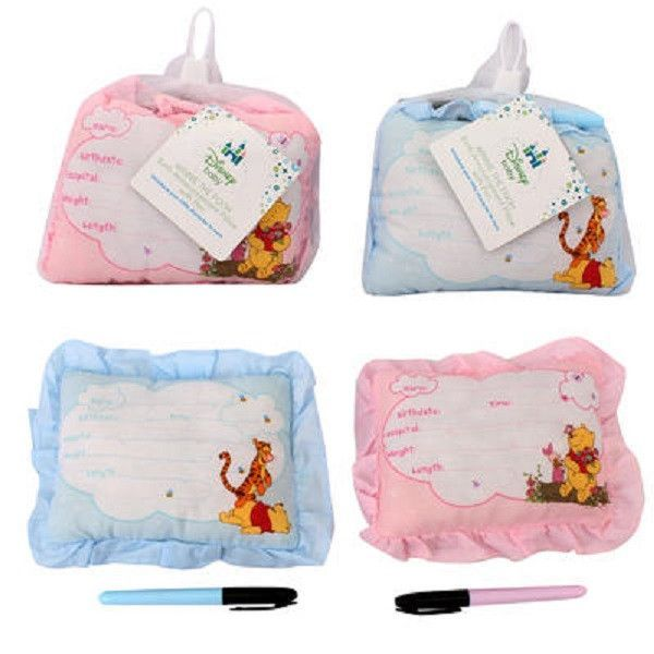 50-Pack Winnie The Pooh Birth Announcement Door Pillow With Pen - Pink & Blue - Baby Girl Boy
