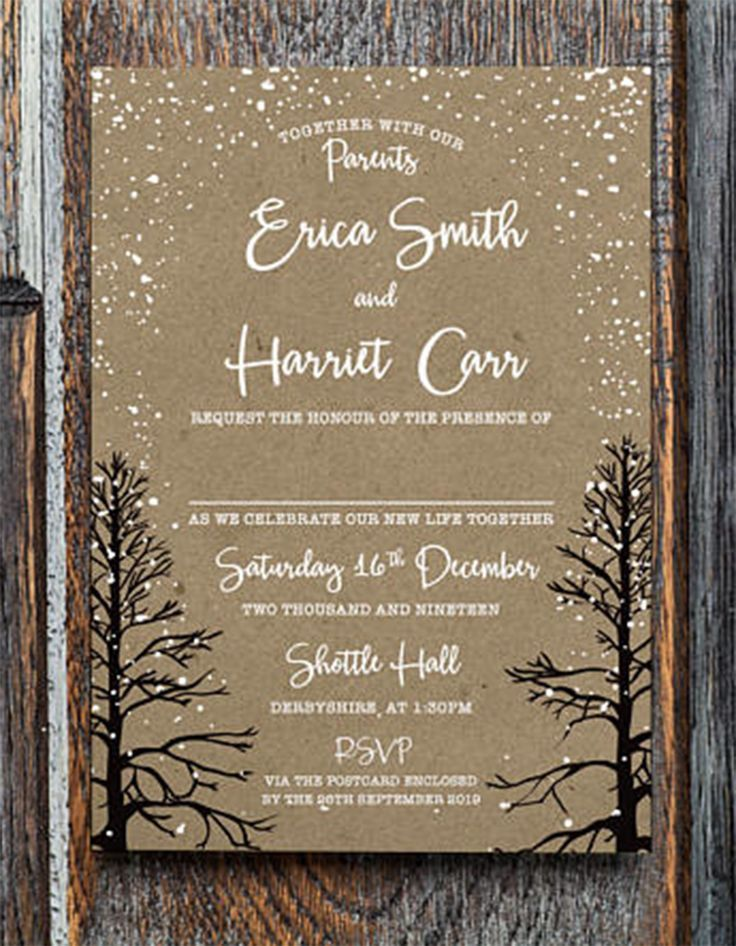 Winter Invitation Wedding Reception Christmas Wonderland December Rustic