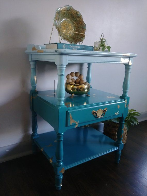 Ombre Hand Painted Accent Table Bohemian Nightstand Gold Etsy