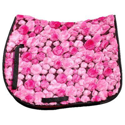 Pink Fluffy English Saddle Pad - Novelty English Saddle Pads
