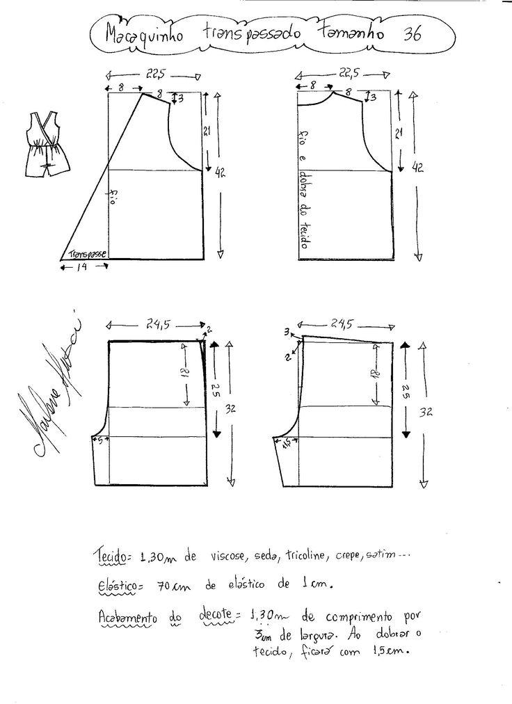 Esquema de modelagem de macaquinho com transpasse tamanho 36.