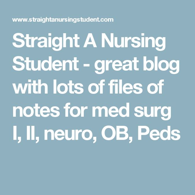 Straight A Nursing Student - great blog with lots of files of notes for med surg I, II, neuro, OB, Peds