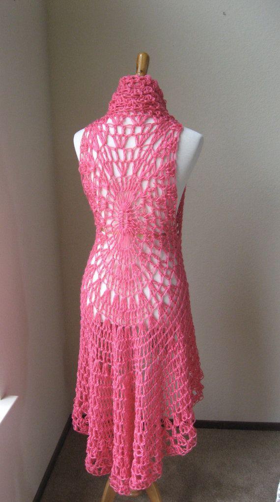 HOT PINK Crochet VEST Boho Bohemian / Fashion Crochet Fucsia Vest / Chic Feminine Gift for Her