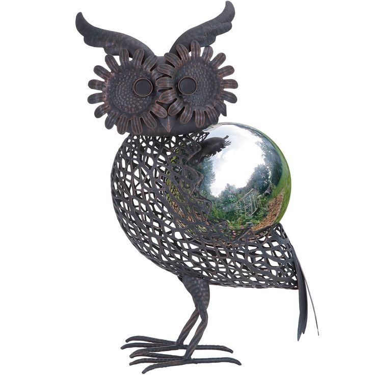 """17"""" Owl Gazing Ball - He would be so cute in the garden @Bridget Conaway"""