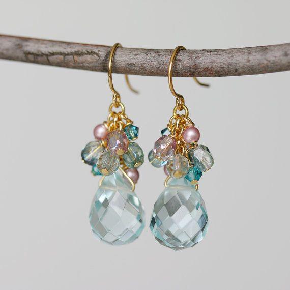 Cuarzo Aqua cristal checo pendientes de racimo de perlas y