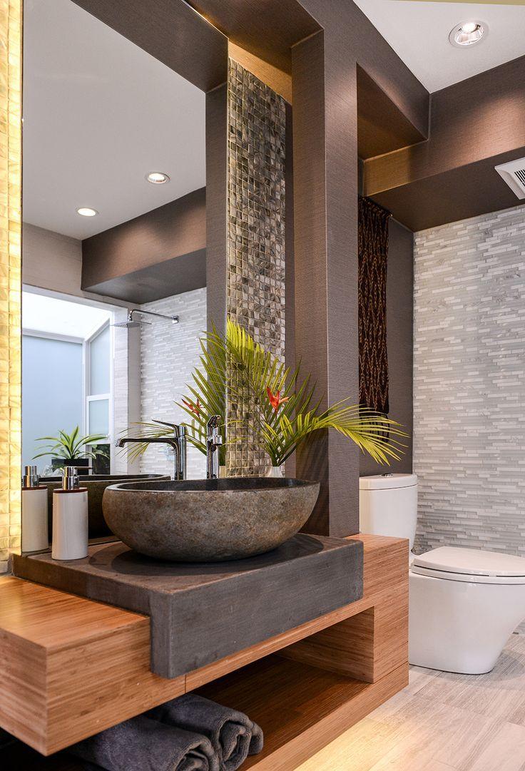 Wood And Riverstone Sink Bathroom Interior Design Contemporary Bathroom Designs Modern Bathroom Design