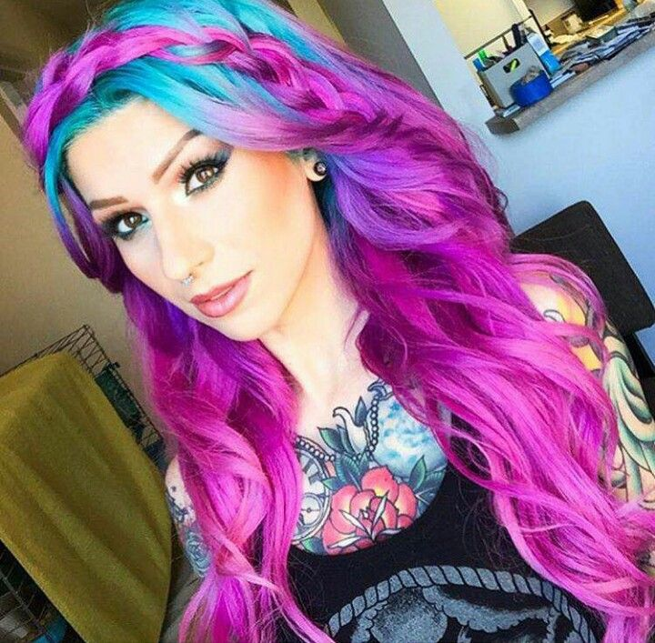 Purple and blue dyed hair