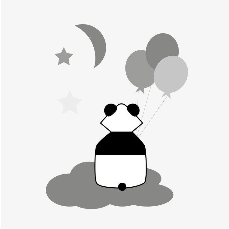 Våra tuffa Pi Panda Drömmande grå är en riktig favorit som gärna sitter och drömmer sig bort ovanför barnsängen🐼  #panda #väggdekor #ballonger