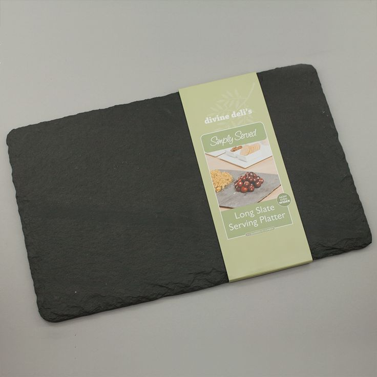 Slate Serving Platter: Traditional to their core, Coniston Stone Crafts have been hand finishing their slate products for the last thirty years. Using the highest quality, locally quarried slate from the Lake District, the family run business continues to ply its trade from their workshop overlooking beautiful Coniston Water.   All of the slate boards are coated with a food safe product and have two neoprene rubber strips on the back to stop damage to table tops. Roullier White recommend…