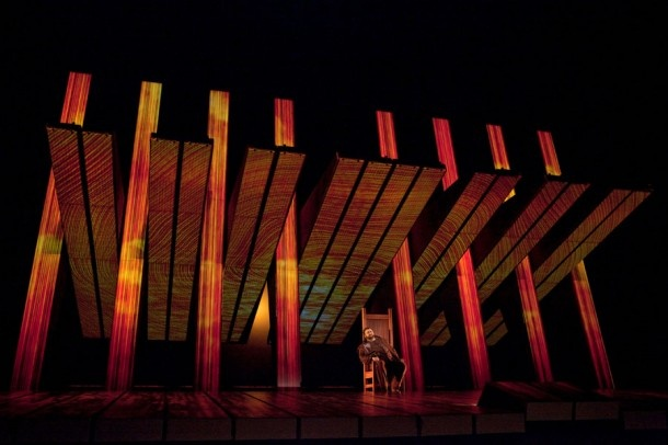 Photo: Ken Howard/Metropolitan Opera From Wagner's Ring Cycle. Amazing automated set by Robert Lepage.