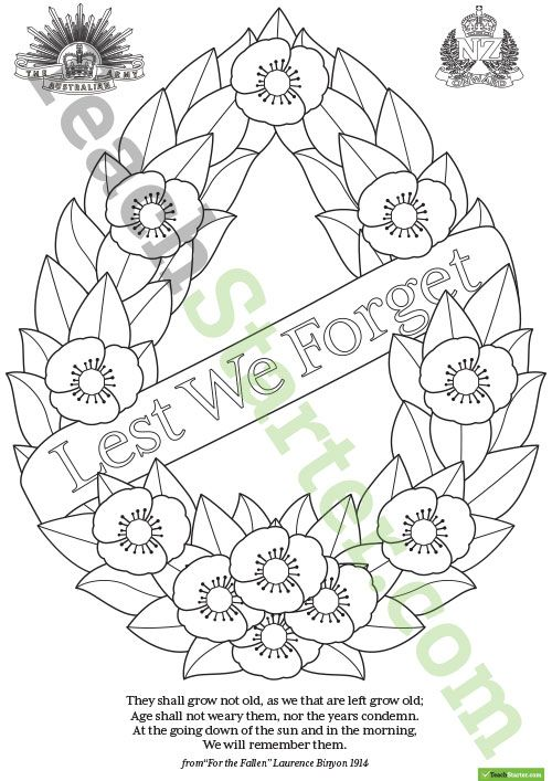 Teaching Resource: An ANZAC Day wreath template for students to decorate and use as part of a class display.