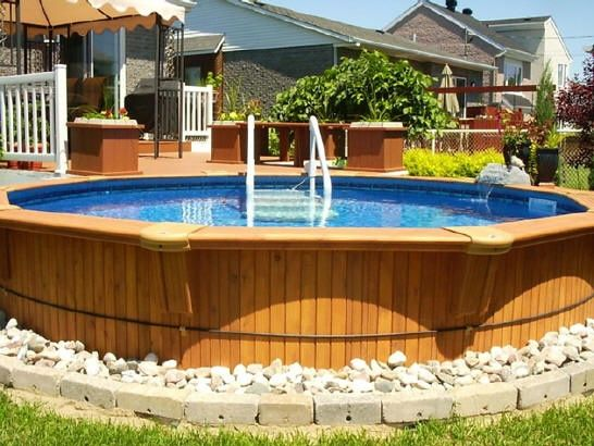 cool way to hide the ugly siding of above ground pools! I need to do something like that outdoor-space