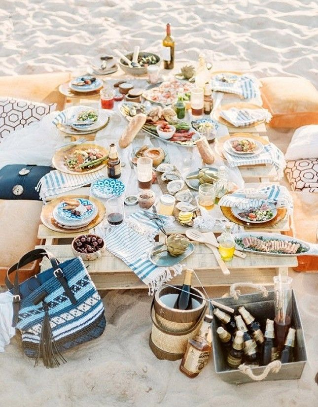 Seaside Dining: Set up a makeshift picnic on the beach with a few essentials: cozy pillows, a wood pallet for the table and plenty of good eats and booze. It's the perfect way to relax with your loved ones before the big day. You can also throw in a beach bonfire to keep the party going.