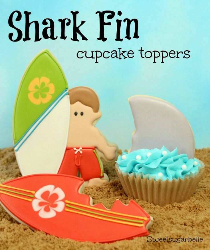 Shark Fin Cupcake Toppers {Hello Summer} I Heart Nap Time | I Heart Nap Time - Easy recipes, DIY crafts, Homemaking