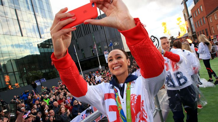 Jessica Ennis-Hill at a parade of Olympic and Paralympic medal-winners in Manchester